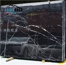 Spain Nero Marquina Black Marble Slabs Big Slabs