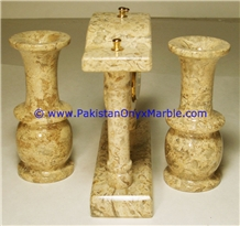 Pakistan Sahara Beige Marble Clocks Column Pillar Shape Handcarved