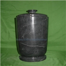 Jet Black Marble Cremation Urn