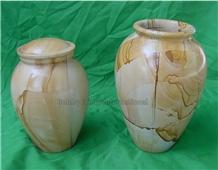 Teak Wood Marble Cremation Urn
