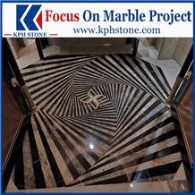 Black Gold Marble Corridor Waterjet