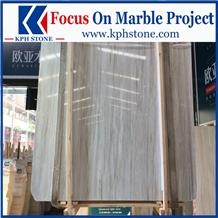 Eurasian White Wood Grain Marble Slabs
