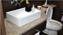 Cafe Faraon Limestone Bathroom Counter with Vessel
