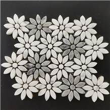 Castle Grey Marble+Star White Marble Flower Mosaic