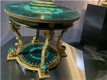 Peacock Green - Malachite Challant Semiprecious Stone Tabletop