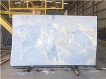 Sky Blue Marble Slab ,Blue Color with White Vein