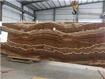 Bookmatched Honey Tiger Onyx Slab Flooring Tile