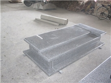 G650 Grey Granite Western Style Tombstone Monument