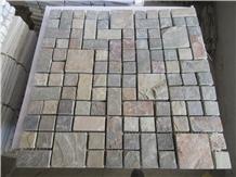 Rusty Yellow Split Slate Mosaic Wall Floor Tiles