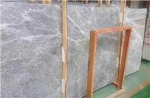 China Polished Silver Grey Marble Slab Tile