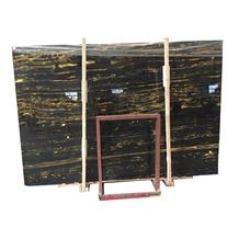 China Cheap Fantasy Black Gold Flower Marble Slabs