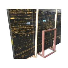 China Polished Black Gold Flower Marble Slabs