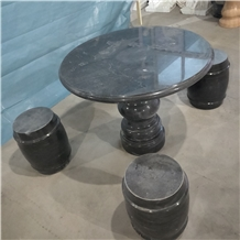 Black Polished Marble Bench Park Table Garden