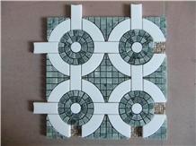 China White, Dark Green Water-Jet Marble Mosaics