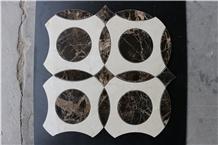 Crema Marfil Dark Emperador Waterjet Marble Mosaic