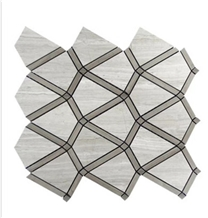 Light Wooden Athens Gray Marble Mosaic
