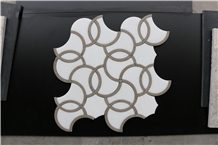 Portugal Beige Thassos Waterjet Marble Mosaics