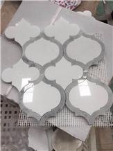 Thassos White Mix Cinderella Waterjet Mosaic
