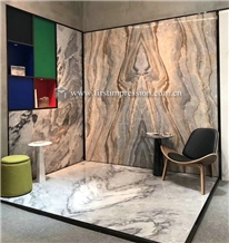 Roman Impression Blue Marble Bookmatch for Walling