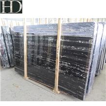 Silver Portoro White Dragon Black Marble Slab Tile