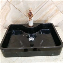 Ink Black Marble Square Basin