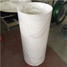 Volakas White Marble Round Basins Including Pillar