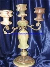 Onyx Brass Five Candle Stick Holder