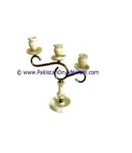 Onyx Brass Three Candle Stick Holder