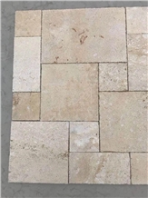 Beige Travertine Villa Pattern Floor Paving