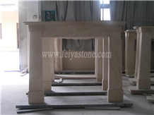Cream Marfil Handcarved Natural Marble Fireplace