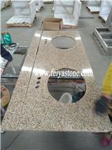 G682 China Gold Granite Double Sink Vanity Top