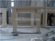 Hand Carved Marble Fireplace in Beige Color