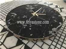 Natural Stone Marble Clock with Blackcolor