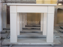 White Limestone White Marble Fireplace Surround