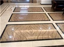 Quarry Owner Gold Royal Beige Marble Tiles Floor Bookmatch