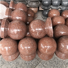 India Royal Red Granite Park Round Ball Bollards