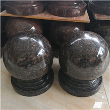 Tan Brown Granite Round Cast Stone Pillar Caps
