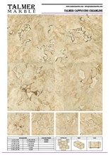 Talmer Cappuccino Creamline Marble Tiles, Slab