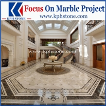 Cream Marfil Marble Waterjet Medallions for Hotels