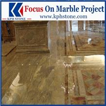 Kulun Gold Marble Tiles Wall Design