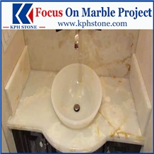 White Onyx Bathroom Vanitytops for Hotel Projects