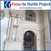 White Pearl Marble Carved Columns