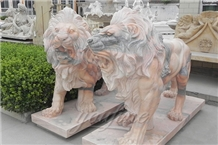 Outdoor Marble Animal Lion Sculpture
