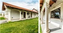 Podeni Limestone Porch Columns, Arches, Ornaments