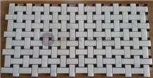 Polished White & Black Marble Basketweave Mosaics