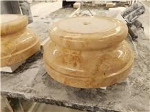 Golden Rose Beige Marble Column Base