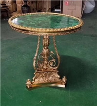 Green Malachite Round Table Top &Bronze Leg