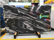 Galaxy Silver Black Granite Book Match Stone