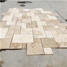 Versailles Pattern Coffee Travertine Tiles