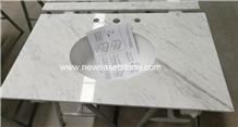 Customized Carrara White Marble Bathroom Vanities